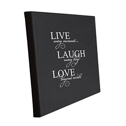 Live Every Moment, Laugh Every Day, Love Beyond Words Jute Burlap Canvas Picture 8 in x 10 in