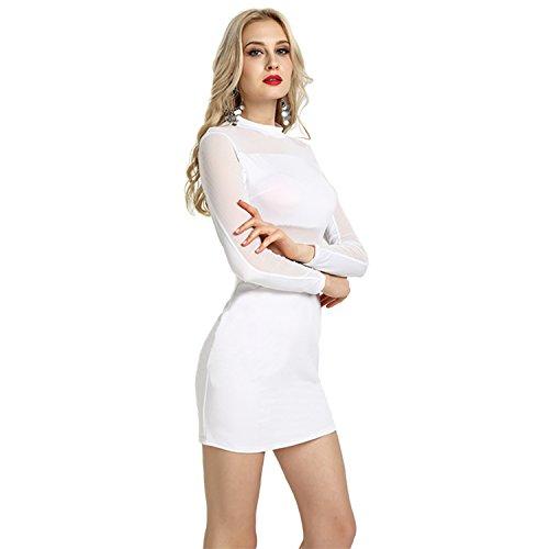 filato NET Donna White MEI Nightclub manicotto amp;S abito BodyconLong gzg40qw7