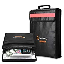 Fireproof Box Bag for Money & Document, GOOJODOQ Fireproof Document Holder Bags with Handle & Reflective strip-Foldable Waterproof Safe Bag for Files, Money, Passport, Jewelry etc. (15 x 12 x 2.55)
