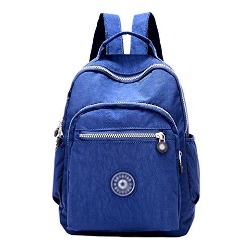 Escuela Oscuro Casual Yujeet Impresión Impermeable Azul Mujer Bolsillos Cremallera Bolsa Mochila Muchos xvvqAZwnzf