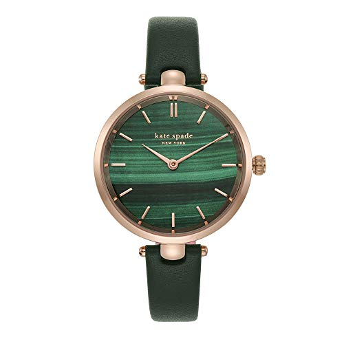 kate spade new york Women's Stainless Steel Quartz Watch with Leather Strap, Green, 12 (Model: KSW1529)