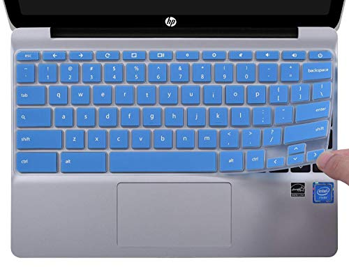 CaseBuy Ultra Thin Keyboard Cover Compatible with HP Chromebook 11 G2 / G3 / G4 / G5 / G6 EE 11.6 Inch Chromebook & HP Chromebook x360 11.6 Protective Skin(NOT Fit HP Chromebook G5 EE), Blue