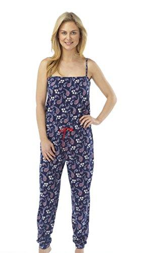 Pijama Onesie cachemir con tiras mujer Azul marino/varios colores Talles 10-12 14-16 18-20