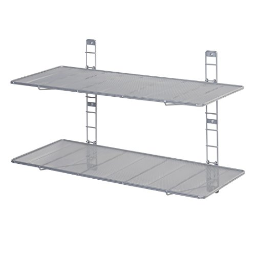 - Seville Classics 2-Tier Iron Mesh Adjustable Floating Wall Shelves, 36