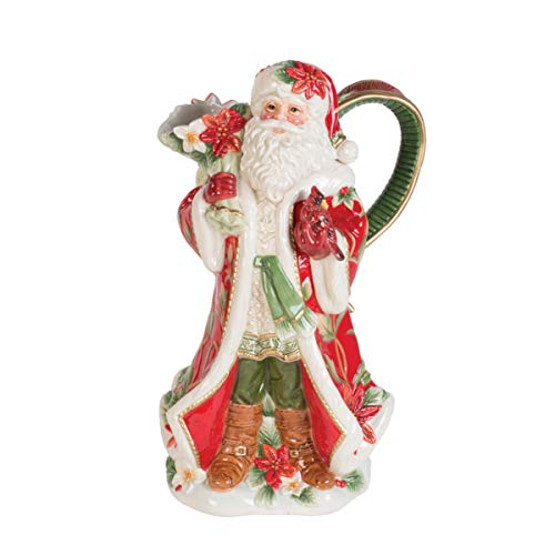 Fitz and Floyd 49-754 Cardinal Christmas Santa-Shaped Pitcher 60-Ounce Holiday Red (Floyd Pitcher)