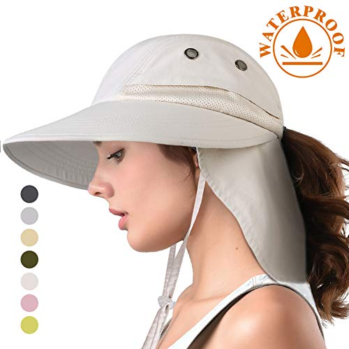 (camptrace Safari Sun Hat Wide Brim Fishing Hat with Neck Flap for Women Ponytail Packable UPS UPF 50+ for Hiking Hunting Camping (Light Beige, One Size))