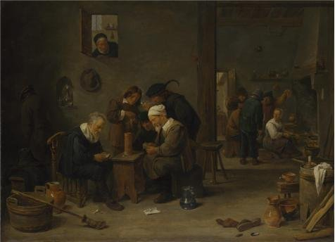 The Perfect Effect Canvas Of Oil Painting 'David Teniers The Younger - Two Men Playing Cards In The Kitchen Of An Inn,probably 1635-40' ,size: 24x33 Inch / 61x84 Cm ,this Imitations Art DecorativePrints On Canvas Is Fit For Powder Room Gallery Art And Home Decoration And Gifts