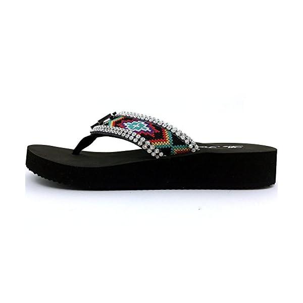 f335c7d928902 Western Peak Women s Aztec Design Full Rhinestones Cross Concho Multicolor Flip  Flop Sandals