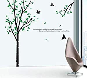 Hand painted bird and green tree wall affixed with hand painted DIY three-dimensional fashion art wall PVC environmentally friendly Removable Wall Stickers