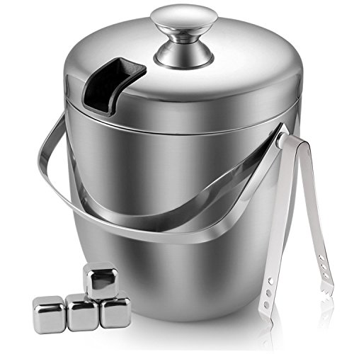 - Fortune Candy Stainless Steel Ice Bucket, 3 Liter/ 0.8 Gallon Double Wall Fingerprint Off with Tong and Ice Cube