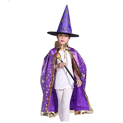 Wizard Costumes Boy (Teddy Spirit Halloween Costumes Witch Wizard Cloak with Hat for Kids Boys Girls (Purple))