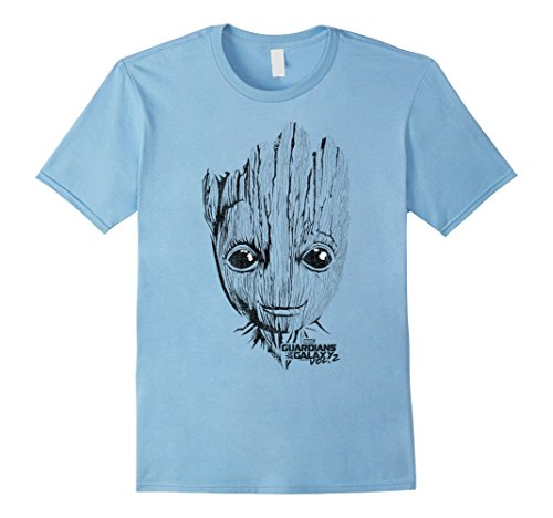 Men's Marvel Groot Guardians of the Galaxy 2 Face Graphic T-Shirt Small Baby Blue