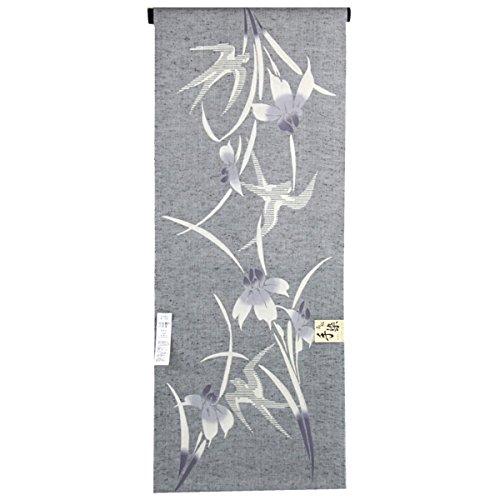 ブレンドギャングシンク浴衣反物 レディース -102- 綿100% 注染 グレー 菖蒲 ツバメ 日本製