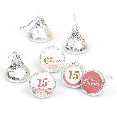 Mis Quince Anos - Quinceanera Sweet 15 Birthday Party Round Candy Sticker Favors - Labels Fit Hershey's Kisses (1 Sheet of 108) -