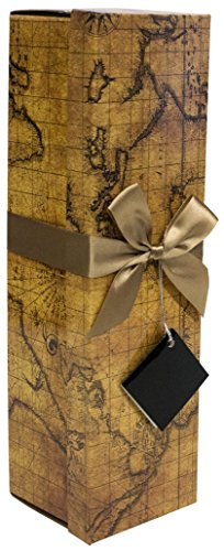 Champagne Gift Box - Reusable Caddy - Easy to Assemble - No Glue Required - Ribbon Tie and Gift Tag Included - Vintage World Map Design - Romanee Collection - EZ Champagne Gift Box By Endless Art US