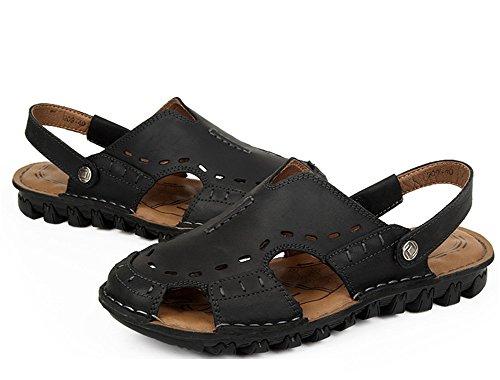Insun pelle in sandalo casual Giacca Nero punto cinghia OwXqrOxag