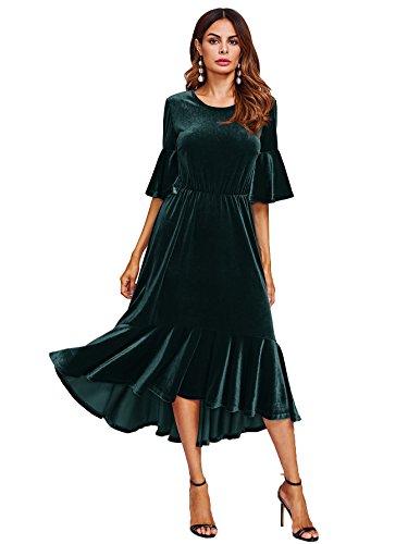 Floerns Women's Trumpet Sleeve Flounce Ruffle Hem Velvet Midi Dress Green S ()