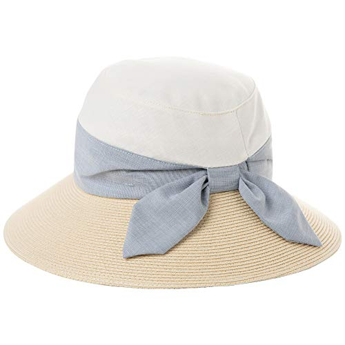 Price comparison product image Womens Beach Straw Summer Sun Hat UV Protection Gardening Hiking Chin Cord Buckets Adjustable Ladies Beige