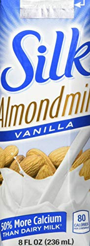 Silk Pure Almondmilk, Vanilla, 8 Ounce, 18 Count, Vanilla Flavored Non-Dairy Almond Milk, Individually Packaged, Dairy-free Milk