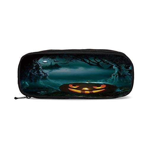 Halloween,Carved Pumpkin in Dark Misty Forest Ancient Trees Gloomy Scenic Horror Theme,9.4