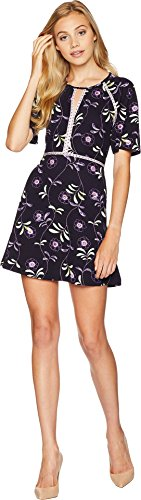 Juicy Couture Women's Knit Roma Floral Texture Dress Midnight Sky Roma 10 -