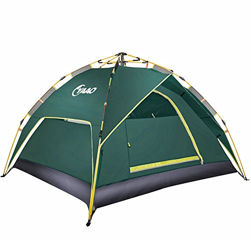 Family Camping Tents Automatic Hydraulic Instant Tent Pop Up 210T PU Protection Easy Set Up Dome Tent Waterproof Sun Shelter Fiberglass for Outdoor Backpacking Hiking (Green 3 Usages for 3 People)