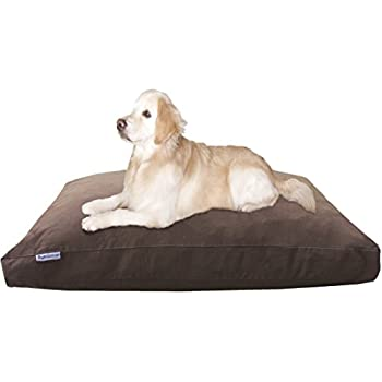Dogbed4less Jumbo Extra Large Memory Foam Dog Bed Pillow with Waterproof Liner and Durable Denim Cover for Big Dog 55X47 Inches, Brown
