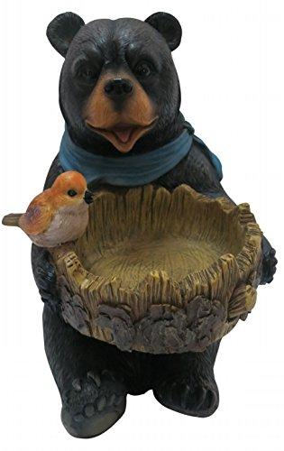 Polyresin Bird (Alpine LWA114 Polyresin Bear Statue with Decorative Birdfeeder, 9