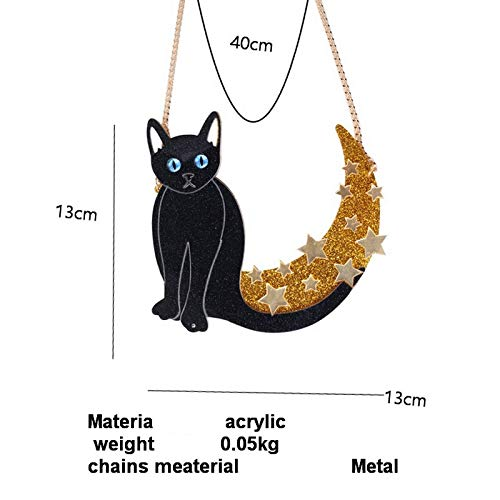 Davitu Fashion Lovely Black Cat Acrylic Necklace Animal Themes Pendant Necklace Star Moon Trendy Acrylic Necklace Women Sweater Chain