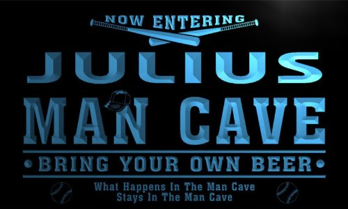 qb313-b Julius Man Cave Baseball Bar Neon Beer Sign - Julius Baseball