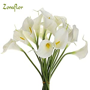 ShineBear 20pcs/lot Decorative Flowers Calla Lily Artificial Flower PU Real Touch Home Decoration Party Wedding Bouquet Flowers 27