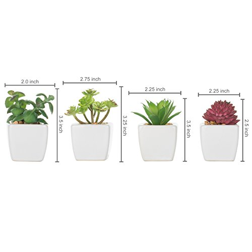 Set of 4 Small Modern Cube-Shaped White Ceramic Planter Pots with Artificial Succulent Plants - MyGift by MyGift (Image #5)