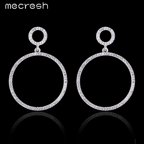 High-Season Mecresh Silver/Pink Color Crystal Round Drop Earrings for Women Bridal Wedding Long Earrings for Bridesmaid MEH775 (Pink)