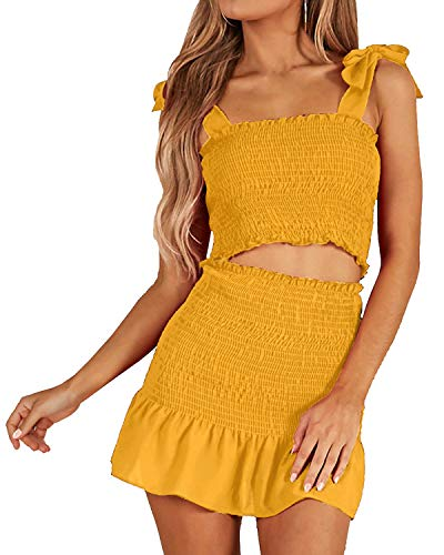 (Women's Bohemian Striped Printed Crop Top with High Waist Shorts Two Piece Outfit Suit Set Yellow)