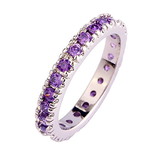 Empsoul Ladies 925 Sterling Silver Natural Chic Filled Amethyst Topaz Eternity Engagement Wedding Ring ()