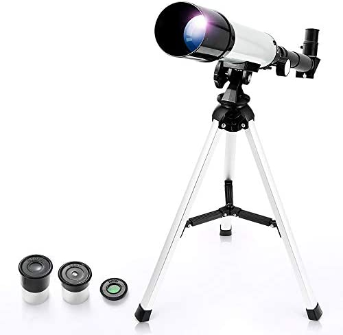 Telescope for Kids, Merkmak Educational Toy for Beginners Science Plastic Tools with Tripod and 3 Magnification Eyepieces 360/50mm Spotting Scope (Silver)