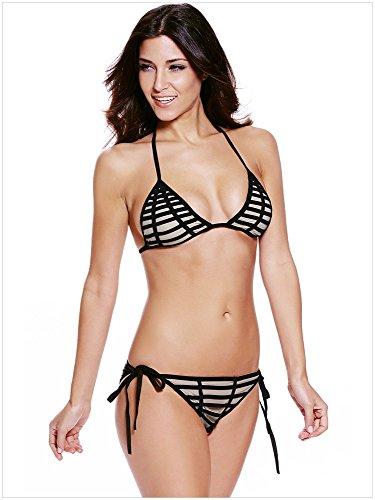 Triángulo de bikini de cintura baja negro playa Bikini ropa glamour negro Negro