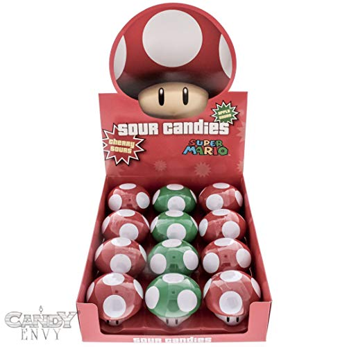- Super Mario Mushroom Sours - Nintendo Mushroom Shaped Tins - Cherry and Apple Flavored - Includes