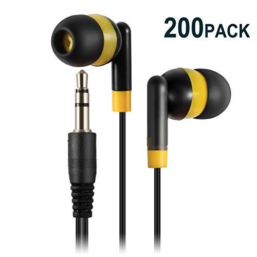 Keewonda Earphones Bulk Earbuds Headphones - 200 Pack Ear Buds Kids Bulk Headphones Wholesale Disposable Earbuds for School Classroom Students (Black/Yellow) (Best Headphones 100 200)