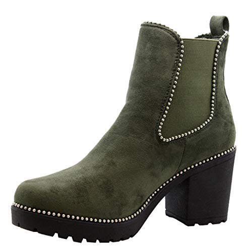 SAUTE STYLES Ladies Women Block Chunky Mid Heel Studded Chelsea Ankle Boots Office Shoes Size 3-8 Green Suede Studded