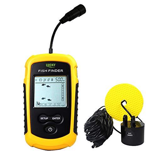 Portable Fish Finder - Sonar Sensor Transducer Handheld Depth Finder Fishfinder with LCD Display Fish Alarm Function