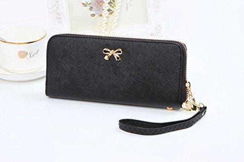 Neue Frauen Geldbeutel koreanische süße Bowknot Geldbörse solide tragbare Geldbörse Handtasche Tefamore