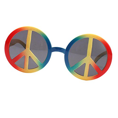 (Homyl Novelty World Peace Sign Glasses Men Women Costume Sunglasses Rainbow Festive Events Party Photo Prop)