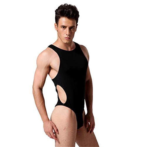 Wonderful Sexy Men Sleeveless Leotard Bodysuit Thong Jumpsuit Fe28 White