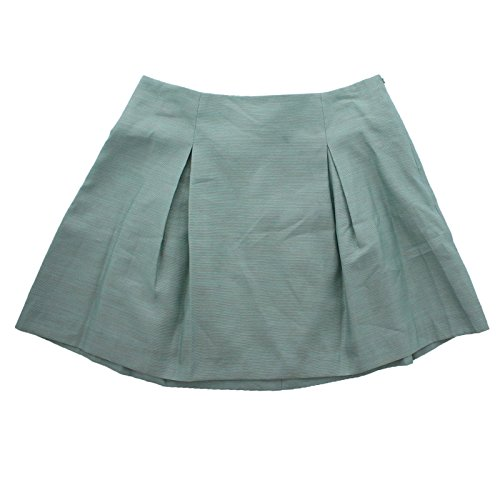 BCBGeneration Women's Pleated Shimmer Flare Skirt Grey Green 10 12 $88 (12, Sea Mist) ()