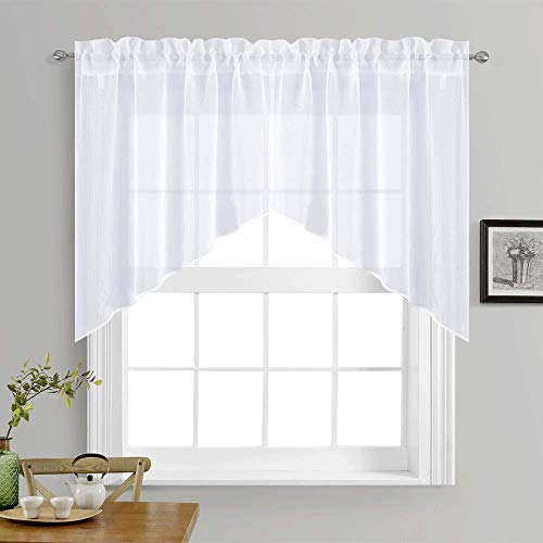 NICETOWN Kitchen Curtains Valances and Swags - Home Decor Valance Solid Color Rod Pocket Faux Linen Textured Swags for Small Window (Set of 2 Pieces, 36