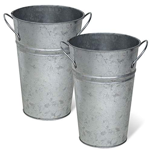 Arbor Lane Rustic Metal Flower Vase - 8 Inches Tall - French Bucket - Farmhouse Style - Set of 2 - (Silver)]()