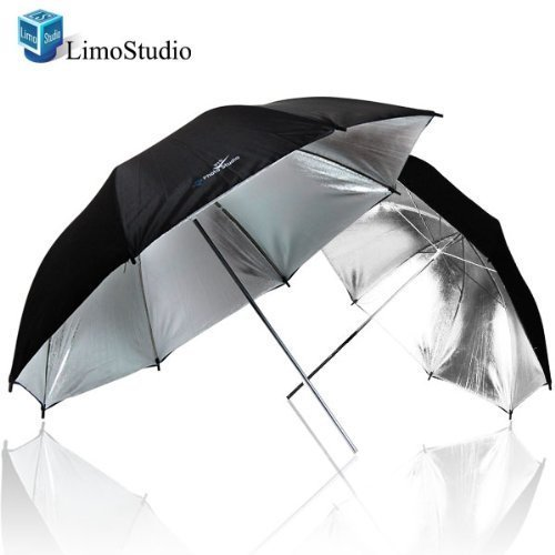 LimoStudio 2 x 33 Double Layer Black/Silver Photo Studio Reflector Umbrella, AGG127