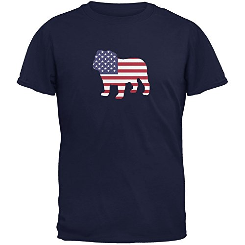 4th of July Patriotic Dog Navy Adult T-Shirt