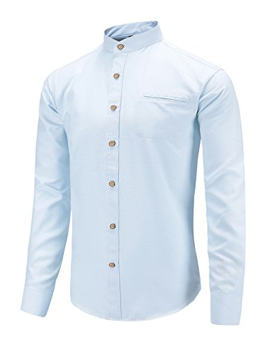 Men's Slim Fit Casual Oxford Dress Shirt Banded Collar Long Sleeve Button Down Shirts with Pocket Blue S